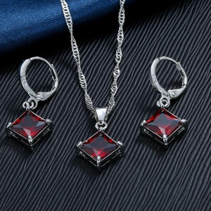 jewelry S925 sterling silver jewelry sets Red Crystal Pendants Necklace Earrings Set Bridal Wedding for women