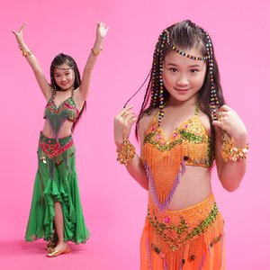 2018 Niñas / Niños / Niños Indian Belly Dance Costums 3 pieza (Bra + Dress + Waist Sealing) Oriental Dance M / L / XL Free Shipping Girl Belly Dancewear