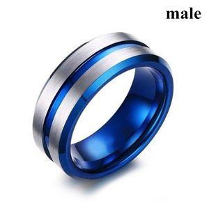Mens Womens 8mm Carboneto De Tungstênio Anel Two Tone Azul Chapeado Sulcado Centro de Prata dos homens 316L Aço Inoxidável Tamanho do Anel 7-13 #
