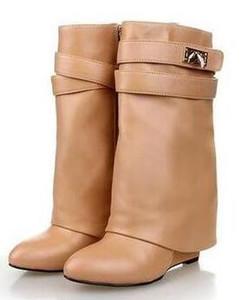 2018 Mulheres de Inverno de Salto Alto Botas de Tornozelo Fivela Apontou Toe Cunha Couro Duplo-Camada Cavaleiro Bota Hetero sapatos mulheres botas mujer