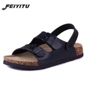FeiYiTu Cork estilo Nueva manera del verano de los planos de los deslizadores unisex playa zapatos Hombre Negro sandalias flip flop blanco marrón tamaño 35-43
