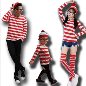 Halloween Wally Tema Cosplay Rojo Blanco Rayado de manga larga Tshirt Hombres Mujeres Kid Costume Sets Tees Family Cosplay Lovers Costume