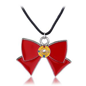 Mignon Anime Sailor Moon Rouge Arc Alliage Colliers Bijoux Au Détail Émail Charme Charm Pendentifs Collier Bijoux pour Filles Femmes Déclaration