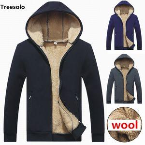 Lamb cashmere Hoodies Men Hooded Casual Wool Winter Thick Warm Coat Mens Cashmere Sweatshirts Cardigan Hoody Man Clothing 1032