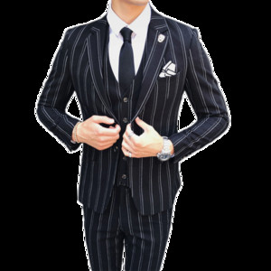 Autumn and Winter Mens Striped Dress Suit Black Navy Blue High-end Business Wedding Banquet Men Blazer Jacket + Vest + Pants