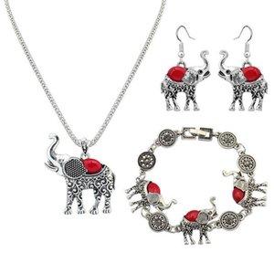 1 Satz Euramerican Halskette Ohrring Armband Anzug Elefant Anhänger Pullover Kette Frauen Mode-Accessoires schönes Geschenk geben Schiff frei