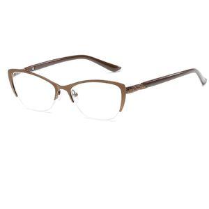 L'ipermetropia Anti-Fatigue Cat HD resina eye Glasses Reading G Oune di occhiali Metà di lettura della struttura presbiti Donne Donne ottico specchio metallo