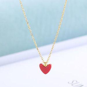 Schmuck s925sterling Silber Halskette für Frauen kleine rotes Herz pemdant einfache Halskette heiße Art und Weise