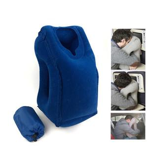 Almohadas inflables para exteriores Cojín suave Almohada portátil de viaje en avión Innovadora respaldo para el cuerpo Soporte para el cuello plegable
