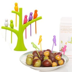 Cute 1 Set of 6 Pcs Birds Fruit Fork Kitchen Accessories Tableware Dessert Cake Dinnerware Party Cocktail