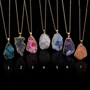 New Natural Crystal Quartz Healing Point Chakra Bead Gemstone Necklace Pendant original natural stone-style Pendant Necklaces Jewelry C011