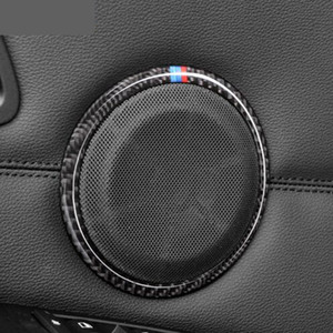 Carbon Fiber Car Door Speaker Декоративный круговой наклейк Динамик Отделка автомобиля Стиль для BMW E90 320i 325i E84 X1 Аксессуары