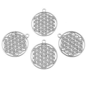 MJARTORIA 10PCs Ancient Silver Tone Round Hollow Life Flower Pendant Charms Men Jewelry Accessories Necklace Women Handmade Gift