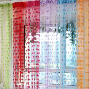 Eco-Friendly Ready Made Cordas Cortinas W1m * H2m Coração Forma Tulle Curtain Para Partition Sala Porta parede Portal Curtain