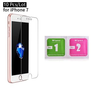 10pcs Lot Tempered Glass with Alcohol Wipes for iPhone X 8 Plus Waterproof Screen Protector for iPhone 6S with Free Shipping