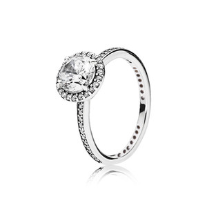 Real 925 Sterling Silver CZ Diamond RING con LOGO e scatola originale Fit Pandora stile anello di fidanzamento per le donne