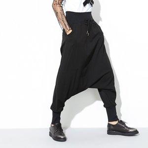 [EAM] 2018 가을 여름 새로운 패션 블랙 솔리드 Drawstring 주머니 느슨한 큰 크기 여성 하이 허스트 하렘 바지 RA224