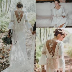 Abiti da sposa country vintage 2018 Pizzo floreale posteriore Bohemian Greek Goddess gioiello manica lunga Forest Garden fattoria abito da sposa