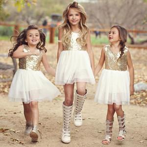 높은 품질의 여자 드레스 골드 장식 조각 골드 의상과 흰색 아동복 파티 드레스 아기 소녀 옷