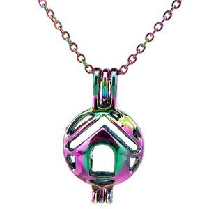 C447 Rainbow Color 26mm Build House Home Family Beads Cage Pendant Essential Oil Diffuser Ароматерапия Pearl Cage Locket Pendant Necklace