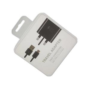 2 in 1 Caricabatterie rapido adattivo Cavo Type-C da 1,2 m UK Plug Kit adattatore da viaggio Quick Wall USB per Samsung s9