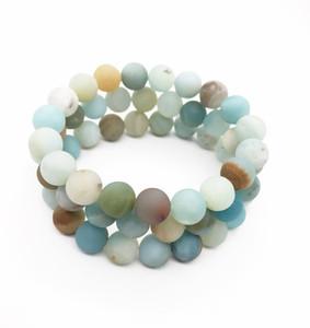 10 milímetros Matte Amazonita Pulseira, Gemstone Bracelet, Amazonita Rodada Beads, pulseira elástica, Boa Sorte Bracelet