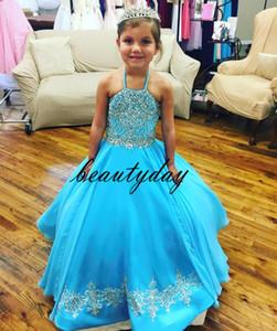 Turkuaz Küçük Kızın Pageant Elbiseler Abiye 2019 Toddler Çocuk Balo Glitz Çiçek Kız Elbise Düğün Boncuklu Boyutu Organze 4 6 8