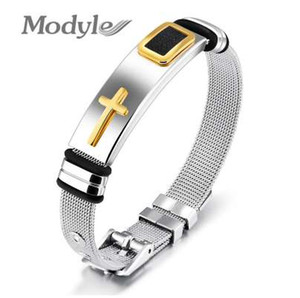 Modyle New Gold-Color Cross Pulsera para Hombres Mujeres Acero Inoxidable Cool Men Jewelry Gifts