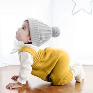 Toddler Tulum Pantolon Örme Pamuk Katı Kayış Askı Pantolon 0-3 T Bebek Bebek Erkek Ve Kız Çocuklar Için tulum Pantolon