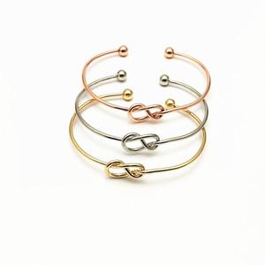 سبيكة التعادل عقدة سوار أساور بسيطة تويست صفعة مفتوحة أساور مجوهرات قابل للتعديل الإسورة للنساء الرجال المجوهرات
