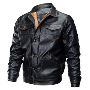 Jacket Men's Autumn Winter Leather Jacket Biker Motorcycle Button Outwear men Plus velvet padded multi-pocket warm Coat oct14