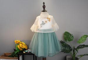 Principessa ragazza vestito bambina bambino bambini versione coreana Chao fan bianco di cheongsam gonna filato stile cinese wt1718