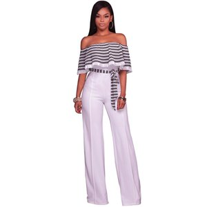 Echoine Pleated Ruffles Strapless Jumpsuit Sexy Women Wide Leg Jumpsuits Fashion Striped Print Rompers Overalls
