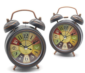 Reloj despertador de la vendimia al por mayor reloj de escritorio con luz de fondo mesa de escritorio de doble campana reloj digital decoración para el hogar SN1363