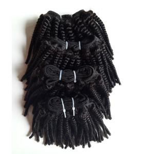 Brazilian Virgin Afro lockiges Einschlagfaden Menschenhaar-natürliche Farbe Verkauf der Fabrik Mink Peruanische indische Remy Menschenhaar 3pcs für Voll Kopf