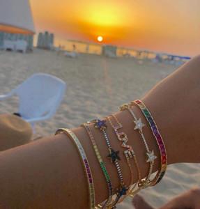 arco-íris pulseira de tênis para mulheres homens banhado a ouro baguette cúbicos zircônia quadrado colorido CZ pulseira de 17 centímetros 19 centímetros
