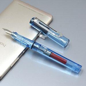 Barato al por mayor - Pluma fuente de alta calidad de la marca JINHAO con material plástico transparente F0.5mm NIB Writing Point estudiante especial TINTA plumas