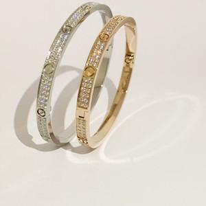 Bracciale dell'acciaio inossidabile di modo aperto del polsino per le donne femmina due Row CZ pietra Bangles in / argento / oro rosa di colore