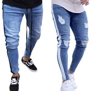 New Fashion Skinny Jeans Men 2018 homens à moda jeans rasgado Calças motociclista skinny slim Hetero desgastadas Denim Calças Roupa