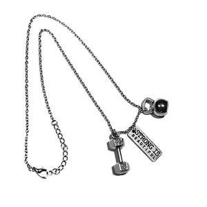 أسلوب الشرير قوية وجميلة تمرين ممارسة Kettlebell الدمبل الحديد سحر معلقة الرياضة القلائد مجوهرات اللياقة