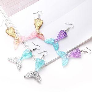 6.3x3.2cm baumeln Ohrringe für Hochzeit Party Geburtstags-Geschenke für Frauen Schmuck Charm Geschenke Mermaid Tail Shape lange Tropfen-Ohrringe