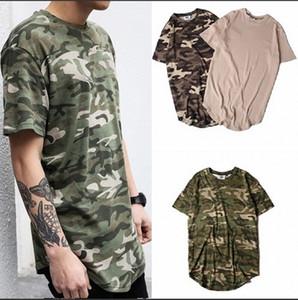 2019 الصيف الصلبة منحني هيم كامو t-shirt الرجال الخيوط الطويلة الموسعة التمويه الهيب هوب بلايز الحضرية kpop تي شيرت الرجال الملابس