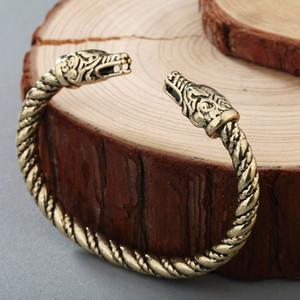 CHENGXUN Nórdico Joyería de Moda Masculina Brazalete Animal Dragones Cabeza Pulsera Vikingo Pagano Medieval Pulsera Celtic Nudo Joyería