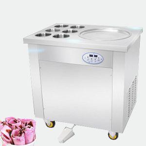 BEIJAMEI Preço de fábrica frito iogurte máquina de rolo de sorvete 110 v 220 v rolamento máquina de sorvete frito com 6 baldes