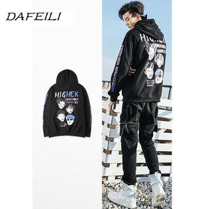 2018 DAFEILI мужские негабаритных балахон равнина хлопок толстовка мода хип-хоп куртка