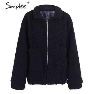 Simplee Falso casaco de lã de cordeiro oversized inverno preto quente casaco hairly mulheres outono outerwear 2017 novo casaco feminino