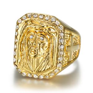 Tamaño del hip hop 7 a 14 Acero inoxidable 316L con circonita A +++ Christianity Catholic Church Jesus Exorcism Golden Cross Ring