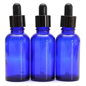 500 stücke 30 ml Blaue Glasflasche Mit Lotion Sprayer Ätherisches Öl Spray Dropper Essenz Leere Flaschen Mit Schwarzer Kunststoffabdeckung