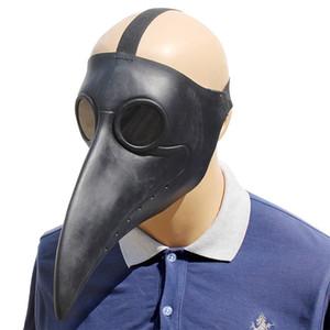 Divertido Steampunk Plague Doctor Máscara Blanco / Negro Látex Pájaro Máscaras Pico Largo Nariz Fiesta de Halloween Cosplay Evento Bola Disfraz Disfraz