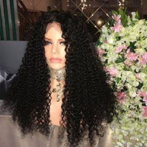 Fábrica não transformados macio puro cabelo humano virgem cor natural kinky curly longo peruca cheia do laço superior para venda